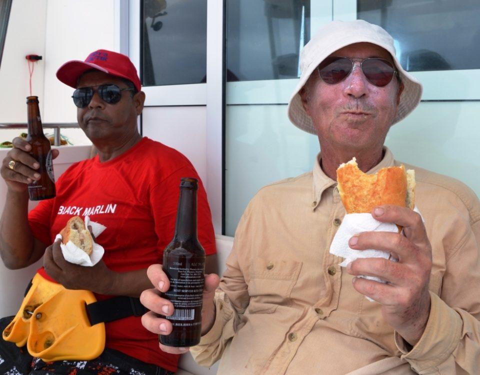 Moment of aloha before jigging - Rod Fishing Club - Rodrigues Island - Mauritius - Indian Ocean