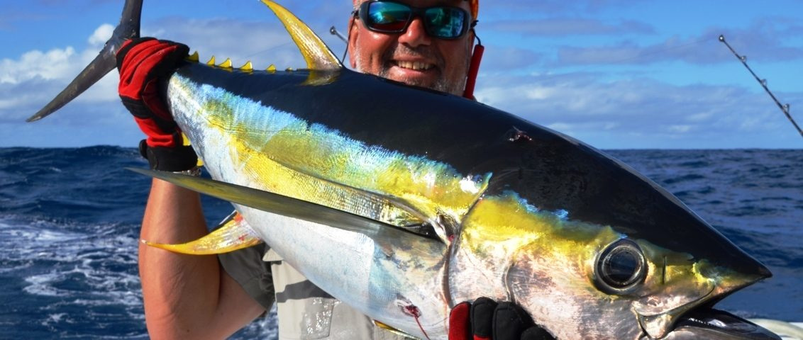 Nice colors of Yellowfin Tuna and Marc - Rod Fishing Club - Rodrigues Island - Mauritius - Indian Ocean