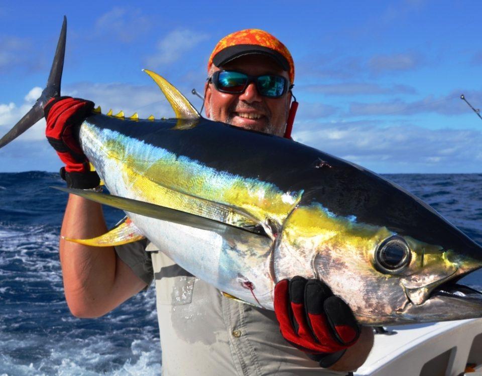 Nice colors of Yellowfin Tuna and Marc - Rod Fishing Club - Rodrigues Island - Mauritius - Indian Ocean