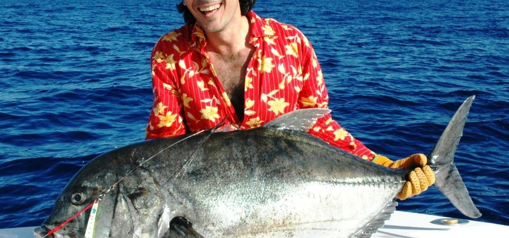 Pédro et sa grosse carangue en pêche au jig- Rod Fishing Club - Ile Rodrigues - Maurice - Océan Indien