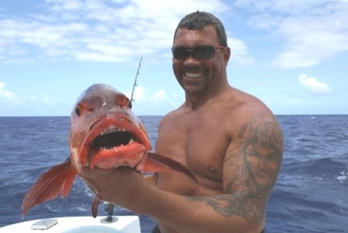 Red snapper on baiting - Rod Fishing Club - Rodrigues Island - Mauritius - Indian Ocean