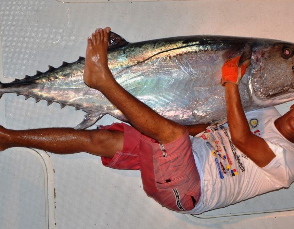 Thon à dents de chien 70 kg par Olivier - Rod Fishing Club - Ile Rodrigues - Maurice - Océan Indien