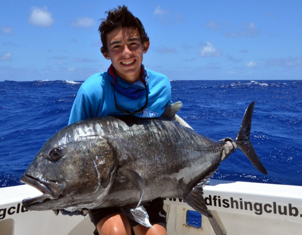 35kg GT released on jigging by Marius (15 years old) - Rod Fishing Club - Rodrigues Island - Mauritius - Indian Ocean