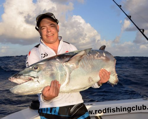 50kg doggy cut by sharks on livebaiting - Rod Fishing Club - Rodrigues Island - Mauritius - Indian Ocean