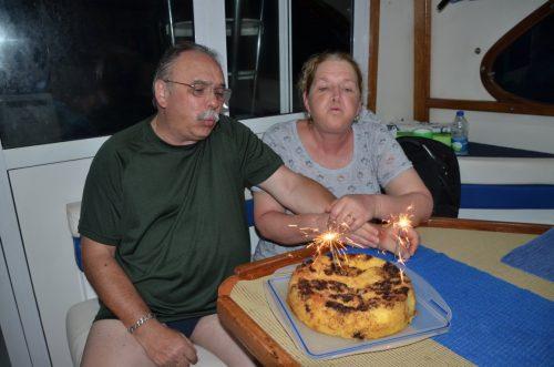 Birthdays cake on board on the Eastern bank - www.rodfishingclub.com - Rodrigues Island - Mauritius - Indian Ocean