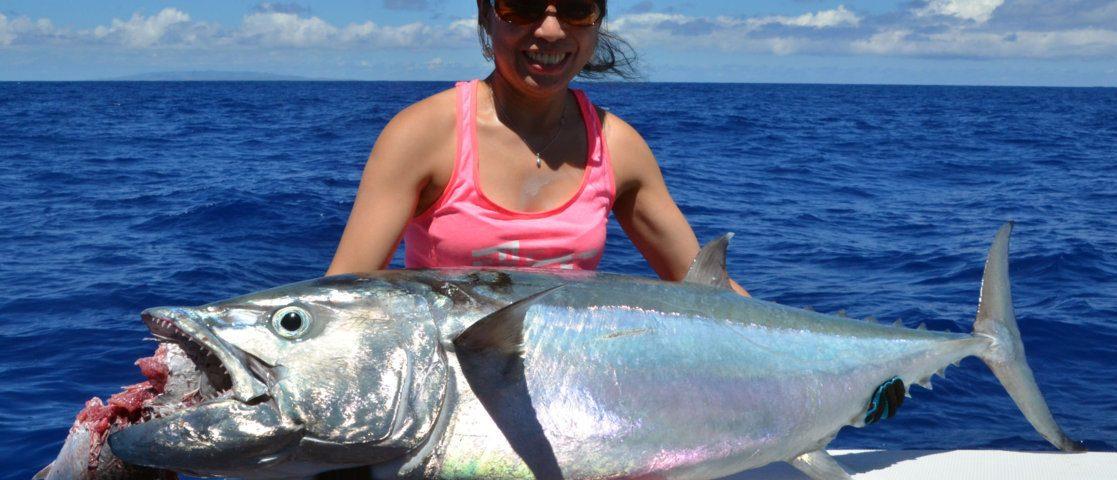 Thon à dents de chien de 40kg pris en pêche a l'appât - www.rodfishingclub.com - Ile Rodrigues - Maurice - Océan Indien