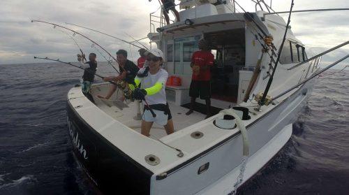 Triple strikes on trolling - www.rodfishingclub.com - Rodrigues Island - Mauritius - Indian Ocean