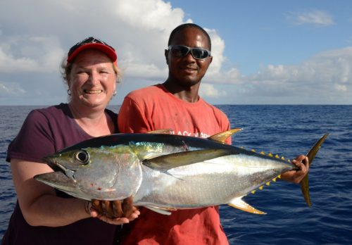 Yellowfin tuna on trolling by Michelle - www.rodfishingclub.com - Rodrigues Island - Mauritius - Indian Ocean