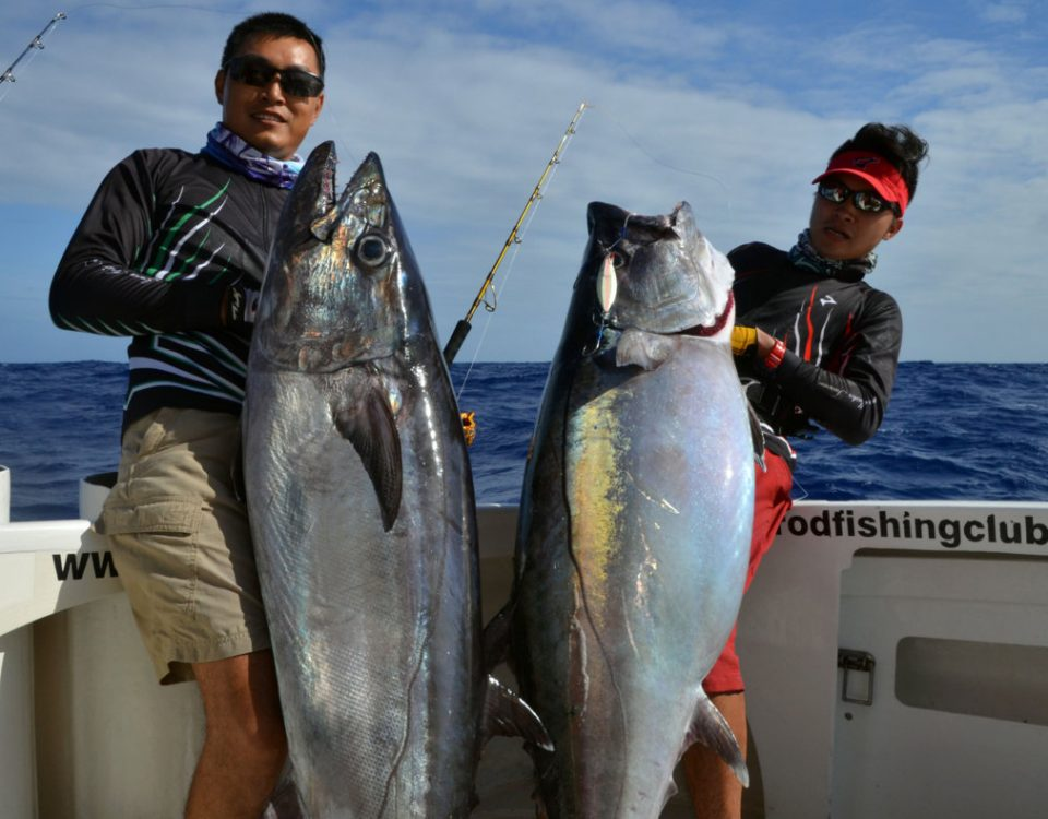2 nice doggies caught by Kevin and Mr Lure - www.rodfishingclub.com - Rodrigues Island - Mauritius - Indian Ocean