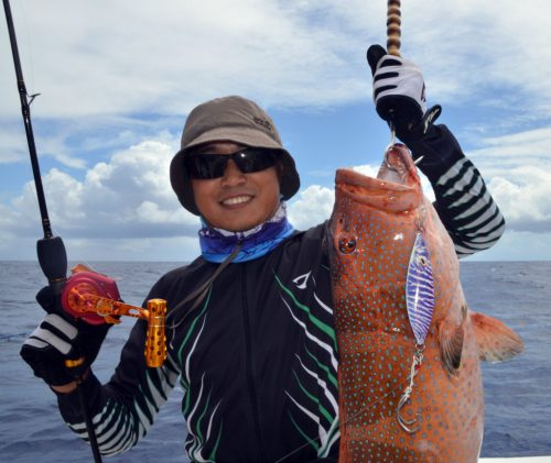 Red corail trout for Kevin on slow jigging - www.rodfishingclub.com - Rodrigues Island - Mauritius - Indian Ocean