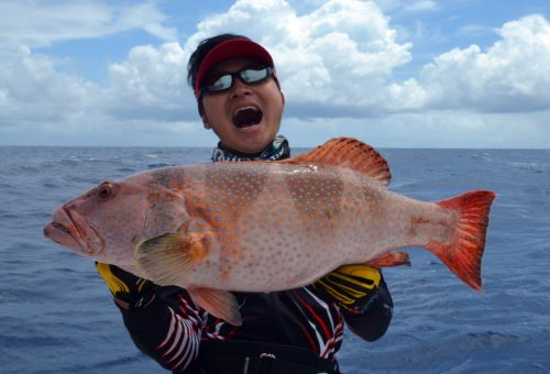 Red corail trout for Mr Lure on jigging - www.rodfishingclub.com - Rodrigues Island - Mauritius - Indian Ocean