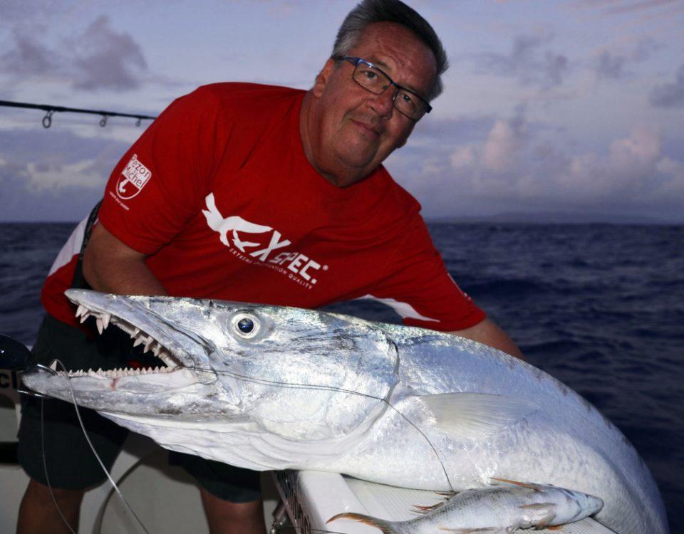Magnifique barracuda pris en pêche a l'appât par André - www.rodfishingclub.com - Ile Rodrigues - Maurice - Océan Indien