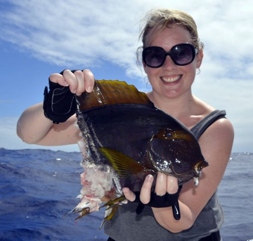 Surgeon fish caught on baiting by Alanah - www.rodfishingclub.com - Rodrigues Island - Mauritius - Indian Ocean