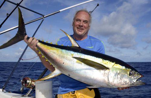 Thon jaune de 25kg pris en pêche a la traîne par Jean Philippe - www.rodfishingclub.com - Ile Rodrigues - Maurice - Océan Indien