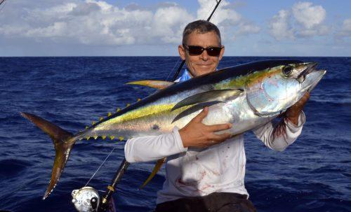 20kg yellowfin tuna caught on trolling by Denis - www.rodfishingclub.com - Rodrigues Island - Mauritius - Indian Ocean