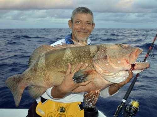 Big red corail trout caught on baiting by Denis - www.rodfishingclub.com - Rodrigues Island - Mauritius - Indian Ocean
