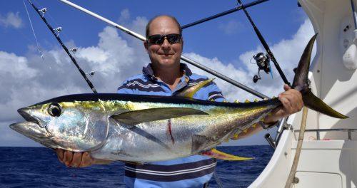 Thon jaune en pêche a la traîne par Paul - www.rodfishingclub.com - Ile Rodrigues - Maurice - Océan Indien