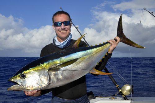 Thon jaune pour Jean Michel en pêche a la traîne - www.rodfishingclub.com - Ile Rodrigues - Maurice -Océan Indien