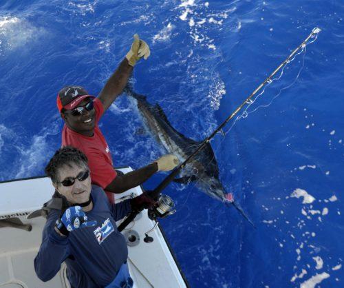 Voilier pris en pêche a la traîne en heavy spinning - www.rodfishingclub.com - Ile Rodrigues - Maurice - Océan Indien
