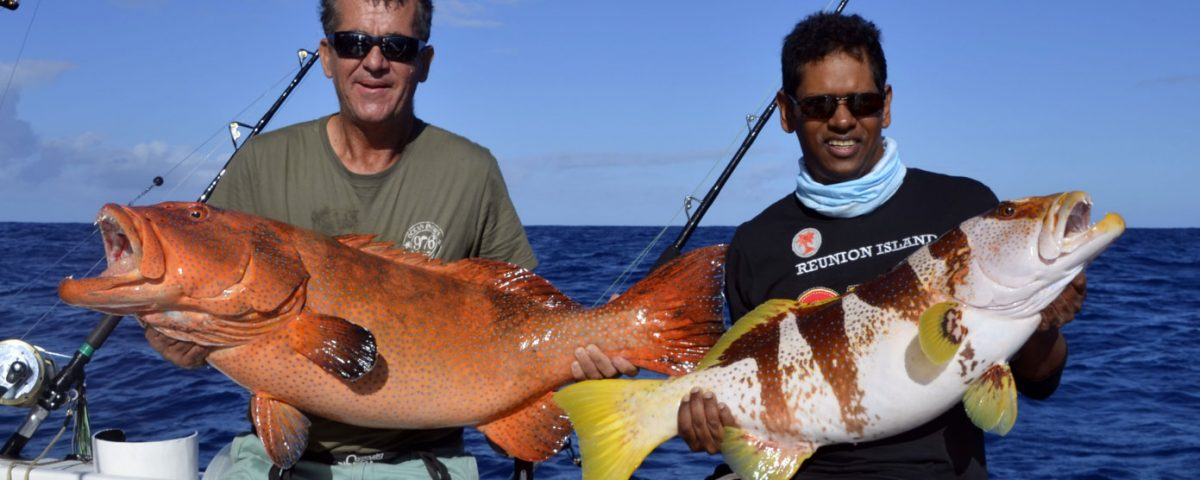 Double strike of grouper on jigging - www.rodfishingclub.com - Rodrigues - Mauritius - Indian Ocean