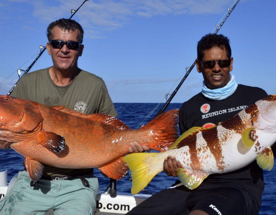 Double strike of grouper on jigging - www.rodfishingclub.com - Rodrigues - Mauritius - Indian Ocean