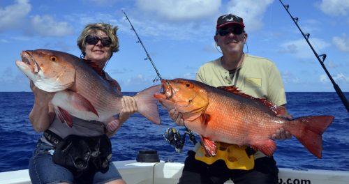 Carpe rouge (lutjanus bohar) en pêche a l'appât - www.rodfishingclub.com - Rodrigues - Maurice - Océan Indien