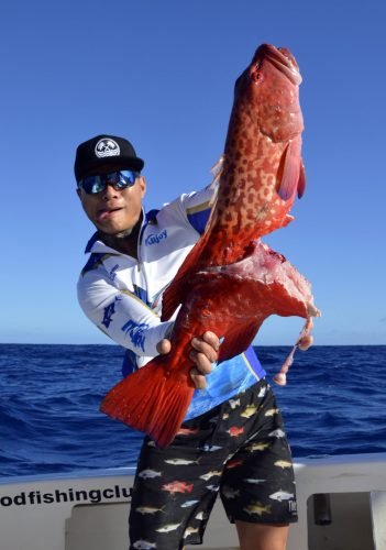Red corail trout cut by shark on slow jigging - www.rodfishingclub.com - Rodrigues - Mauritius - Indian Ocean