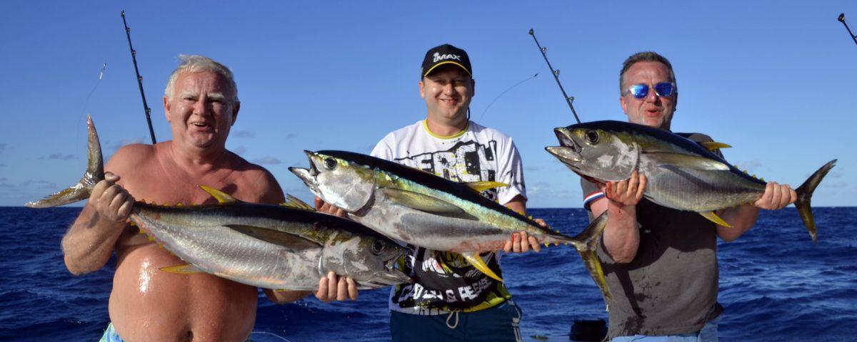 Trebble strikes of yellowfin tunas on trolling - www.rodfishingclub.com - Rodrigues - Mauritius - Indian Ocean