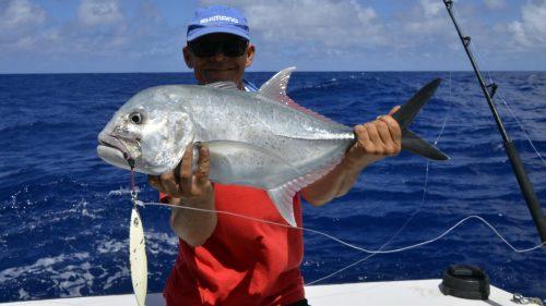 Carangue ignobilis en pêche au jig - www.rodfishingclub.com - Rodrigues - Maurice - Océan Indien