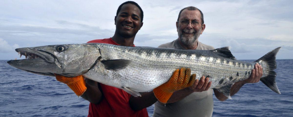 Gros barracuda en pêche a l'appât - www.rodfishingclub.com - Rodrigues - Maurice - Océan Indien