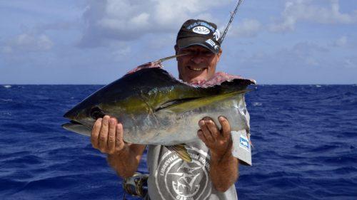 Moitié de thon jaune en pêche a la traine par Christian - www.rodfishingclub.com - Rodrigues - Maurice - Océan Indien