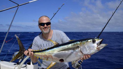 Thon jaune en pêche a la traîne par Jérôme - www.rodfishingclub.com - Rodrigues - Maurice - Océan Indien