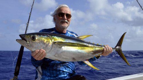 Thon jaune en pêche a la traine par Guy - www.rodfishingclub.com - Rodrigues - Maurice - Océan Indien