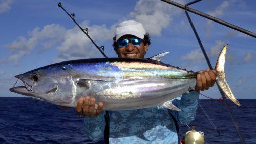 Thon skipjack en pêche a la traîne par Chris - www.rodfishingclub.com - Rodrigues - Maurice - Océan Indien