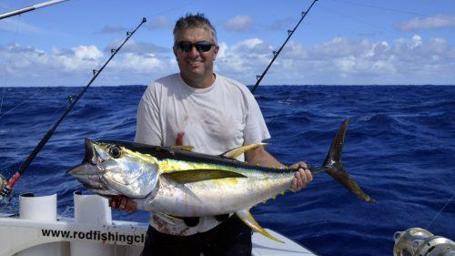 Thon jaune en peche a la traine par Wilfrid - www.rodfishingclub.com - Rodrigues - Maurice - Ocean Indien