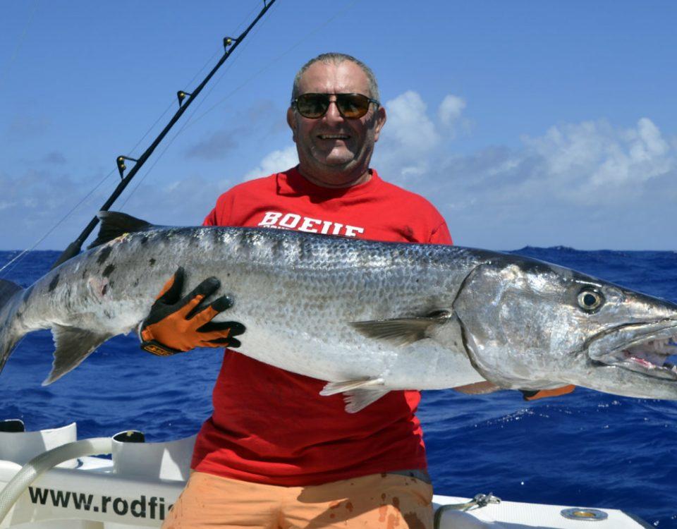 28.7kg barracuda en peche au vif par Philippe - www.rodfishingclub.com - Rodrigues - Maurice - Ocean Indien