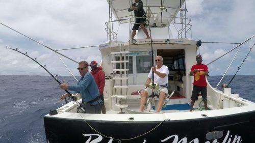 Départs simultanés en peche a la traine - www.rodfishingclub.com - Rodrigues - Maurice - Océan Indien