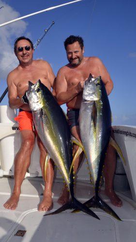Doublé de thon jaune en peche a la traine - www.rodfishingclub.com - Rodrigues - Maurice - Ocean Indien