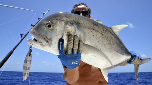 GT on jigging with a shimano ocea jig - www.rodfishingclub.com - Rodrigues - Mauritius - Indian Ocean