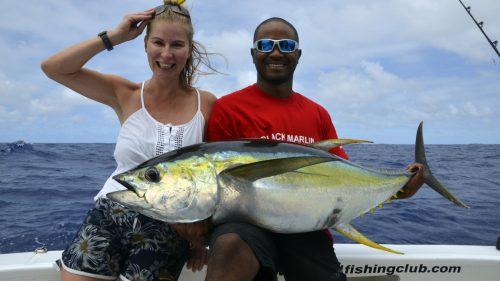 Thon jaune en peche a la traine par Jeni - www.rodfishingclub.com - Rodrigues - Maurice - Océan Indien