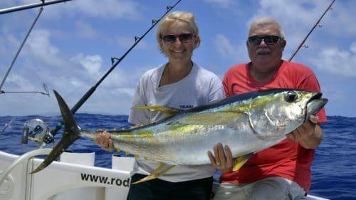 Yellowfin tuna on trolling by Genevieve - www.rodfishingclub.com - Rodrigues - Mauritius - Indian Ocean