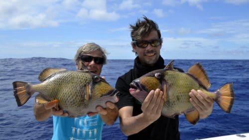 Balistes en peche a l appat - www.rodfishingclub.com - Rodrigues - Maurice - Océan Indien