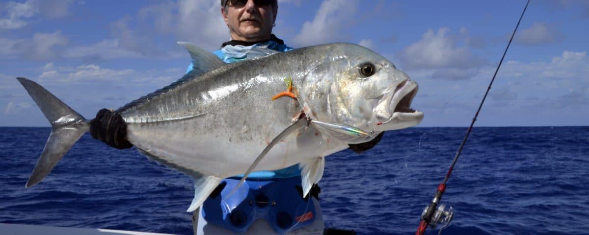 Carangue ignobilis de 20kg en slow jigging - www.rodfishingclub.com - Rodrigues - Maurice - Océan Indien