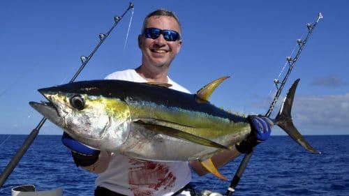 Thon jaune en peche a la traine par Gilles - www.rodfishingclub.com - Rodrigues - Maurice - Ocean Indien
