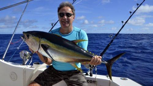 Thon jaune en peche a la traine par Pat - www.rodfishingclub.com - Rodrigues - Maurice - Océan Indien