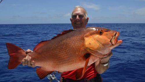 Big red snapper on slow jigging by Alain - www.rodfishingclub.com - Rodrigues - Mauritius - Indian Ocean