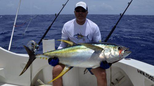 Beau thon jaune en peche a la traine par Khaled - www.rodfishingclub.com - Rodrigues - Maurice - Océan Indien