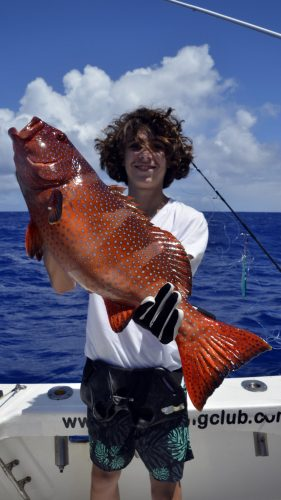 Red corail trout on jigging by Hugo - www.rodfishingclub.com - Rodrigues - Mauritius - Indian Ocean