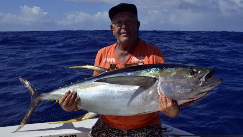 Thon jaune en peche a la traine par Momo - www.rodfishingclub.com - Rodrigues - Maurice - Océan Indien