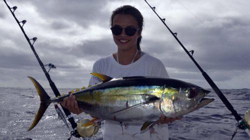 Thon jaune en peche a la traine par Zoe - www.rodfishingclub.com - Rodrigues - Maurice - Océan Indien
